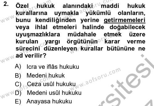 Medeni Usul Hukuku Dersi 2012 - 2013 Yılı (Vize) Ara Sınavı 2. Soru