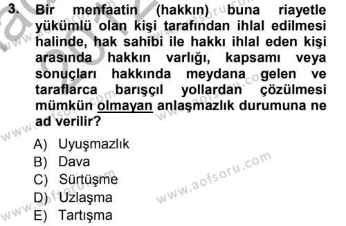 Medeni Usul Hukuku Dersi 2012 - 2013 Yılı (Vize) Ara Sınavı 3. Soru