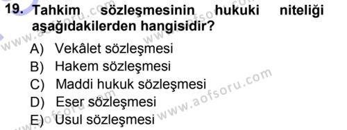 Medeni Usul Hukuku Dersi 2012 - 2013 Yılı (Final) Dönem Sonu Sınavı 19. Soru