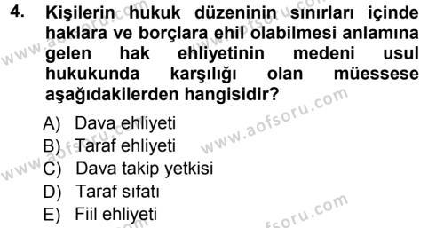 Medeni Usul Hukuku Dersi 2012 - 2013 Yılı (Final) Dönem Sonu Sınavı 4. Soru