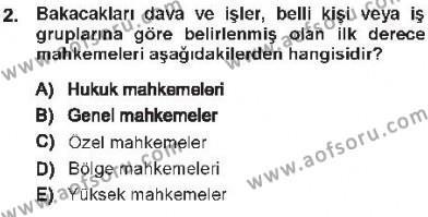 Medeni Usul Hukuku Dersi 2012 - 2013 Yılı Tek Ders Sınav Soruları 2. Soru