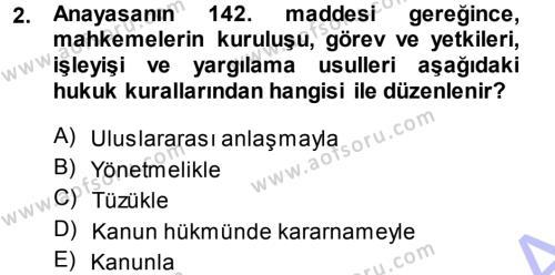 Medeni Usul Hukuku Dersi 2013 - 2014 Yılı Ara Sınavı 2. Soru