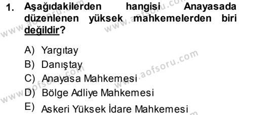 Medeni Usul Hukuku Dersi 2013 - 2014 Yılı (Final) Dönem Sonu Sınavı 1. Soru