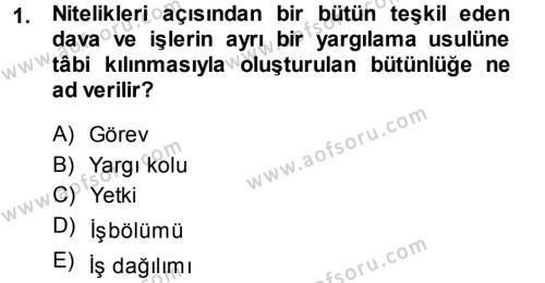 Medeni Usul Hukuku Dersi 2013 - 2014 Yılı Tek Ders Sınavı 1. Soru