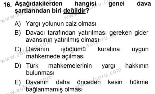 Medeni Usul Hukuku Dersi 2014 - 2015 Yılı Ara Sınavı 16. Soru 1. Soru
