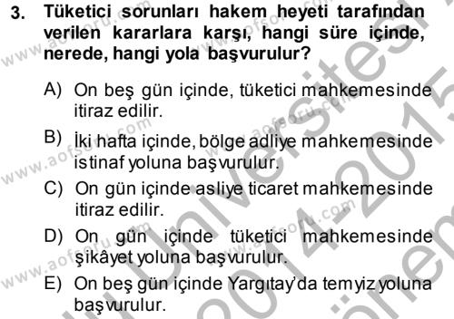 Medeni Usul Hukuku Dersi 2014 - 2015 Yılı (Final) Dönem Sonu Sınav Soruları 3. Soru