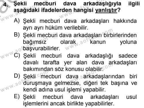Medeni Usul Hukuku Dersi 2014 - 2015 Yılı (Final) Dönem Sonu Sınav Soruları 4. Soru