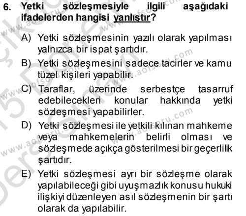 Medeni Usul Hukuku Dersi 2014 - 2015 Yılı Tek Ders Sınavı 6. Soru 1. Soru