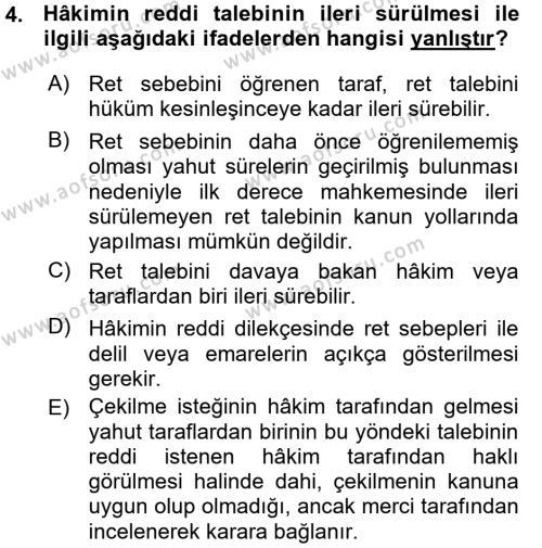 Medeni Usul Hukuku Dersi 2015 - 2016 Yılı (Vize) Ara Sınavı 4. Soru