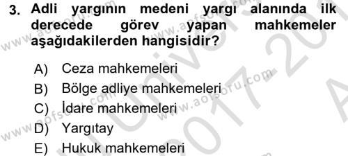 Medeni Usul Hukuku Dersi 2017 - 2018 Yılı (Vize) Ara Sınavı 3. Soru