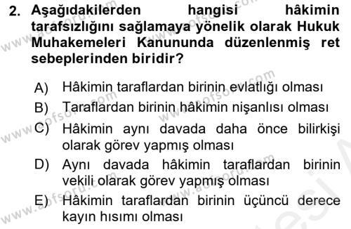 Medeni Usul Hukuku Dersi 2018 - 2019 Yılı (Final) Dönem Sonu Sınavı 2. Soru