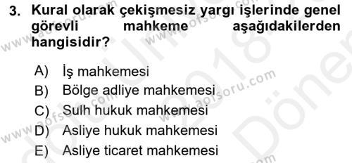 Medeni Usul Hukuku Dersi 2018 - 2019 Yılı (Final) Dönem Sonu Sınavı 3. Soru