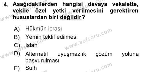 Medeni Usul Hukuku Dersi 2018 - 2019 Yılı (Final) Dönem Sonu Sınavı 4. Soru