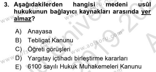 Medeni Usul Hukuku Dersi 2019 - 2020 Yılı (Vize) Ara Sınavı 3. Soru