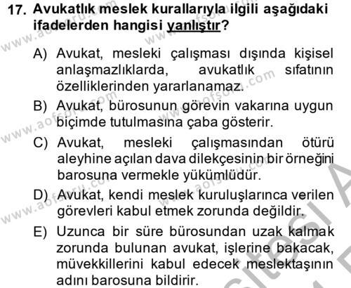 Avukatlık Ve Noterlik Hukuku Dersi Ara Sınavı Deneme Sınav Soruları 17. Soru