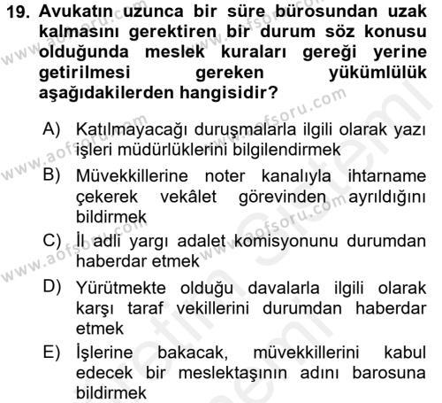 Avukatlık Ve Noterlik Hukuku Dersi Ara Sınavı Deneme Sınav Soruları 19. Soru