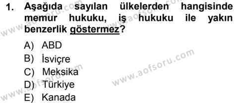 Memur Hukuku Dersi 2012 - 2013 Yılı (Vize) Ara Sınavı 1. Soru
