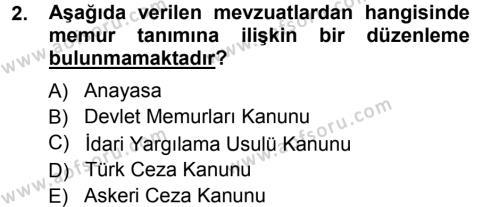 Memur Hukuku Dersi 2012 - 2013 Yılı Ara Sınavı 2. Soru