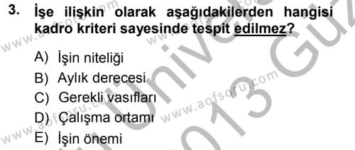 Memur Hukuku Dersi 2012 - 2013 Yılı (Vize) Ara Sınavı 3. Soru