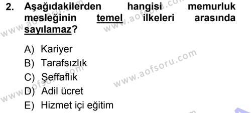Memur Hukuku Dersi 2012 - 2013 Yılı (Final) Dönem Sonu Sınavı 2. Soru
