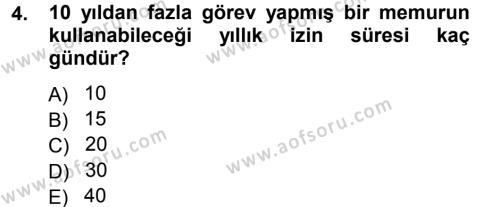 Adalet Bölümü 3. Yarıyıl Memur Hukuku Dersi 2013 Yılı Güz Dönemi Dönem Sonu Sınavı 4. Soru