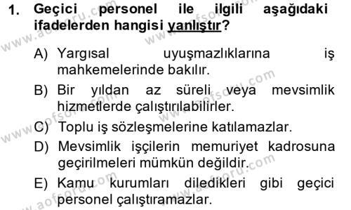Memur Hukuku Dersi 2014 - 2015 Yılı (Final) Dönem Sonu Sınavı 1. Soru
