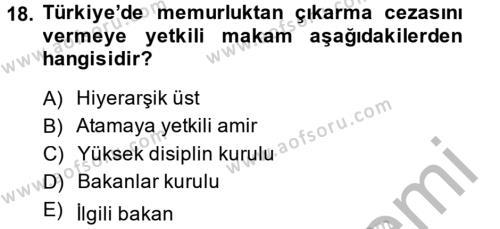 Memur Hukuku Dersi 2014 - 2015 Yılı (Final) Dönem Sonu Sınavı 18. Soru