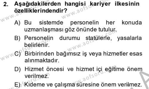 Memur Hukuku Dersi 2014 - 2015 Yılı (Final) Dönem Sonu Sınavı 2. Soru