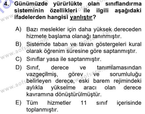 Memur Hukuku Dersi 2015 - 2016 Yılı Ara Sınavı 4. Soru