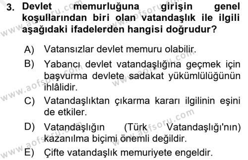 Memur Hukuku Dersi 2017 - 2018 Yılı (Final) Dönem Sonu Sınavı 3. Soru