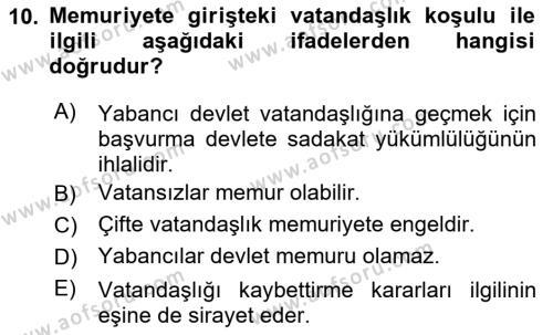 Memur Hukuku Dersi 2018 - 2019 Yılı (Vize) Ara Sınavı 10. Soru