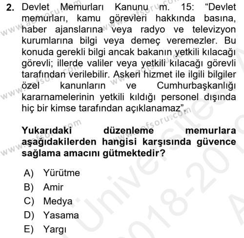 Memur Hukuku Dersi 2018 - 2019 Yılı (Vize) Ara Sınav Soruları 2. Soru