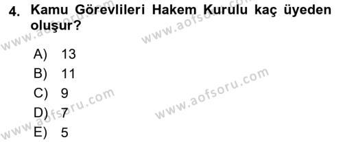 Memur Hukuku Dersi 2018 - 2019 Yılı (Final) Dönem Sonu Sınav Soruları 4. Soru