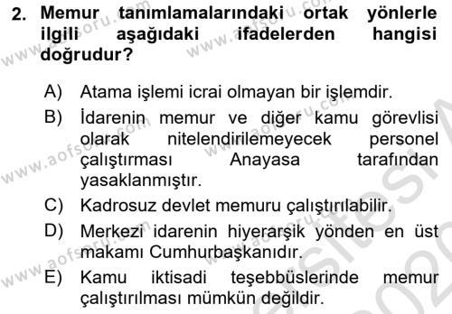 Memur Hukuku Dersi 2019 - 2020 Yılı (Vize) Ara Sınav Soruları 2. Soru