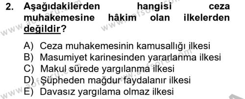 Ceza Muhakemesi Hukuku Dersi 2012 - 2013 Yılı (Vize) Ara Sınav Soruları 2. Soru