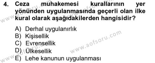 Ceza Muhakemesi Hukuku Dersi 2012 - 2013 Yılı (Vize) Ara Sınav Soruları 4. Soru