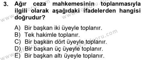 Ceza Muhakemesi Hukuku Dersi 2012 - 2013 Yılı (Final) Dönem Sonu Sınavı 3. Soru