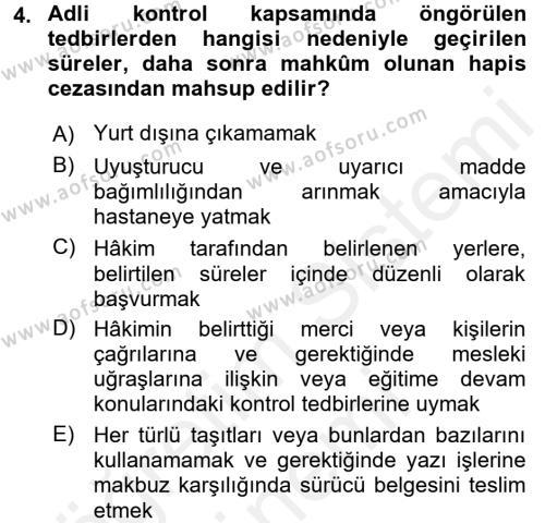 Ceza Muhakemesi Hukuku Dersi 2017 - 2018 Yılı (Final) Dönem Sonu Sınavı 4. Soru