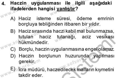 İcra İflas Hukuku Dersi 2014 - 2015 Yılı (Final) Dönem Sonu Sınav Soruları 4. Soru