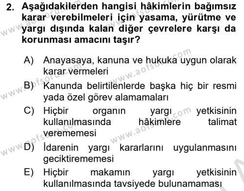 Yargı Örgütü Ve Tebligat Hukuku Dersi 2016 - 2017 Yılı (Vize) Ara Sınavı 2. Soru