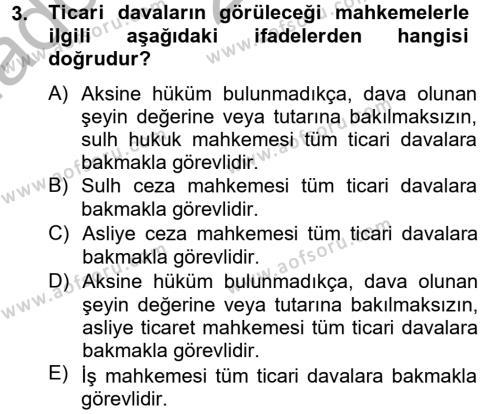 Ticaret Hukuku Dersi 2012 - 2013 Yılı Ara Sınavı 3. Soru