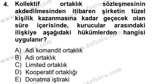 Ticaret Hukuku Dersi 2013 - 2014 Yılı Dönem Sonu Sınavı 4. Soru
