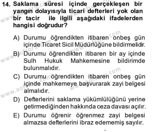 Ticaret Hukuku Dersi Ara Sınavı Deneme Sınav Soruları 14. Soru