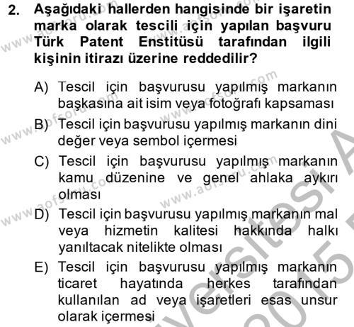Ticaret Hukuku Dersi 2014 - 2015 Yılı (Final) Dönem Sonu Sınav Soruları 2. Soru