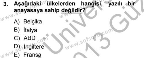 Anayasa Hukuku Dersi 2012 - 2013 Yılı Ara Sınavı 3. Soru