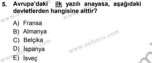 İktisat Bölümü 3. Yarıyıl Anayasa Hukuku Dersi 2013 Yılı Güz Dönemi Ara Sınavı 5. Soru