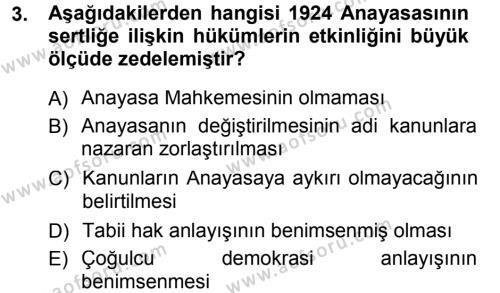 Anayasa Hukuku Dersi 2012 - 2013 Yılı Dönem Sonu Sınavı 3. Soru