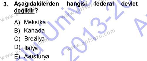Anayasa Hukuku Dersi 2013 - 2014 Yılı Ara Sınavı 3. Soru