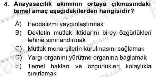 Anayasa Hukuku Dersi 2018 - 2019 Yılı (Vize) Ara Sınav Soruları 4. Soru