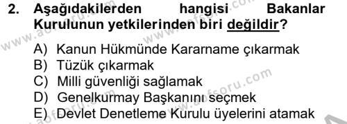 Yerel Yönetimler Bölümü 4. Yarıyıl İdare Hukuku Dersi 2013 Yılı Bahar Dönemi Dönem Sonu Sınavı 2. Soru